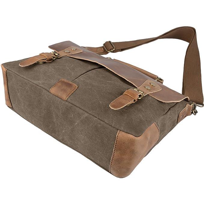 Hermiona Men's Vintage Canvas Leather Schoolbag Military Shoulder Crossbody Messenger Bag U2fDj30B3