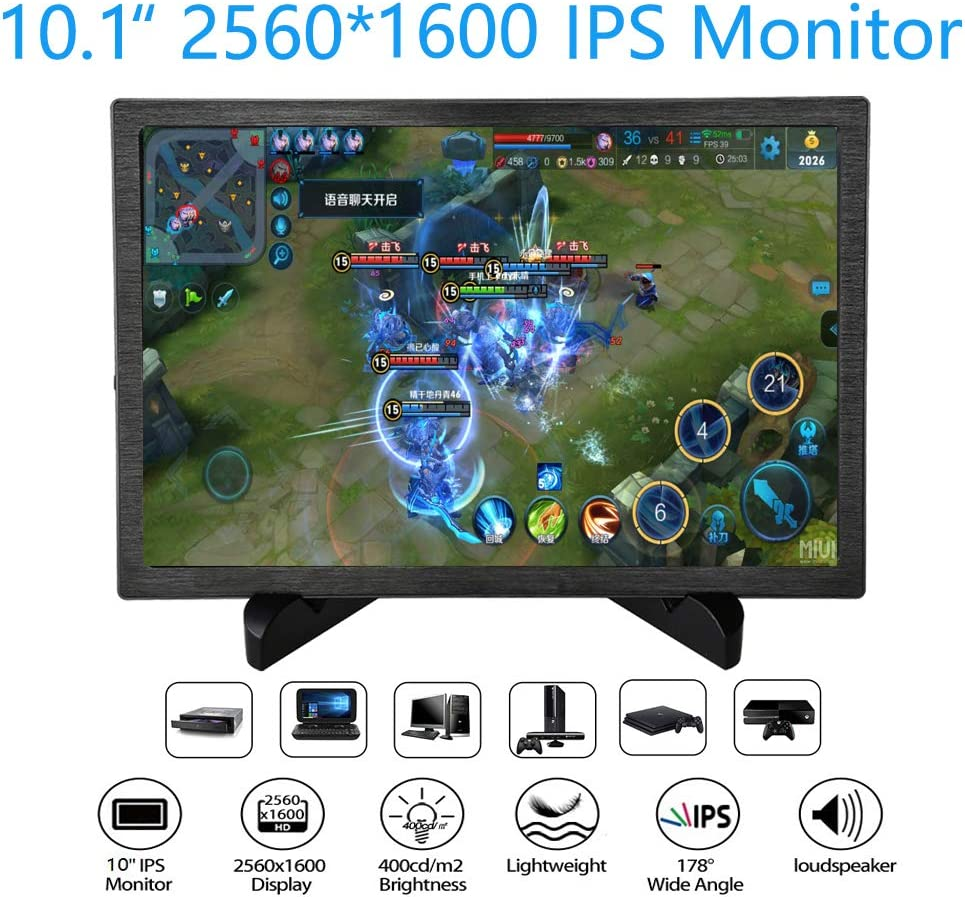 Amazon Com 10 1 2k Uhd Monitor Ips 2560x1600 Game Display Dual Hdmi Input For Pc Ps3 Ps4 Xbox One Xbox360 Cctv Laptop 10 1 Inch 2560x1600 Computers Accessories