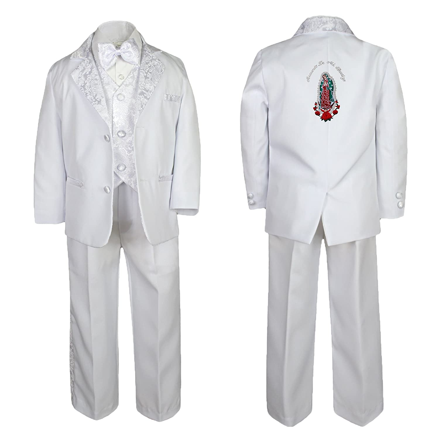 Unotux Baby Boy Teen Baptism Formal White Paisley Suit Silver Guadalupe On Back SM-20