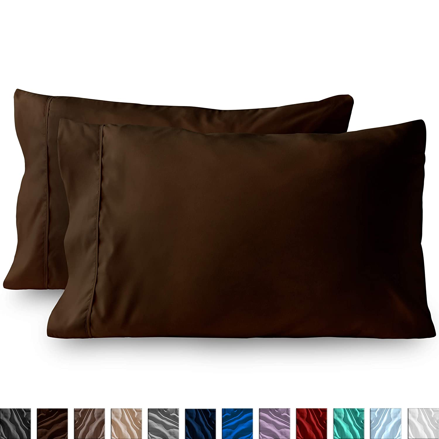Bare Home Premium 1800 Ultra-Soft Microfiber Pillowcase Set - Double Brushed - Hypoallergenic - Wrinkle Resistant (Standard Pillowcase Set of 2, Cocoa)