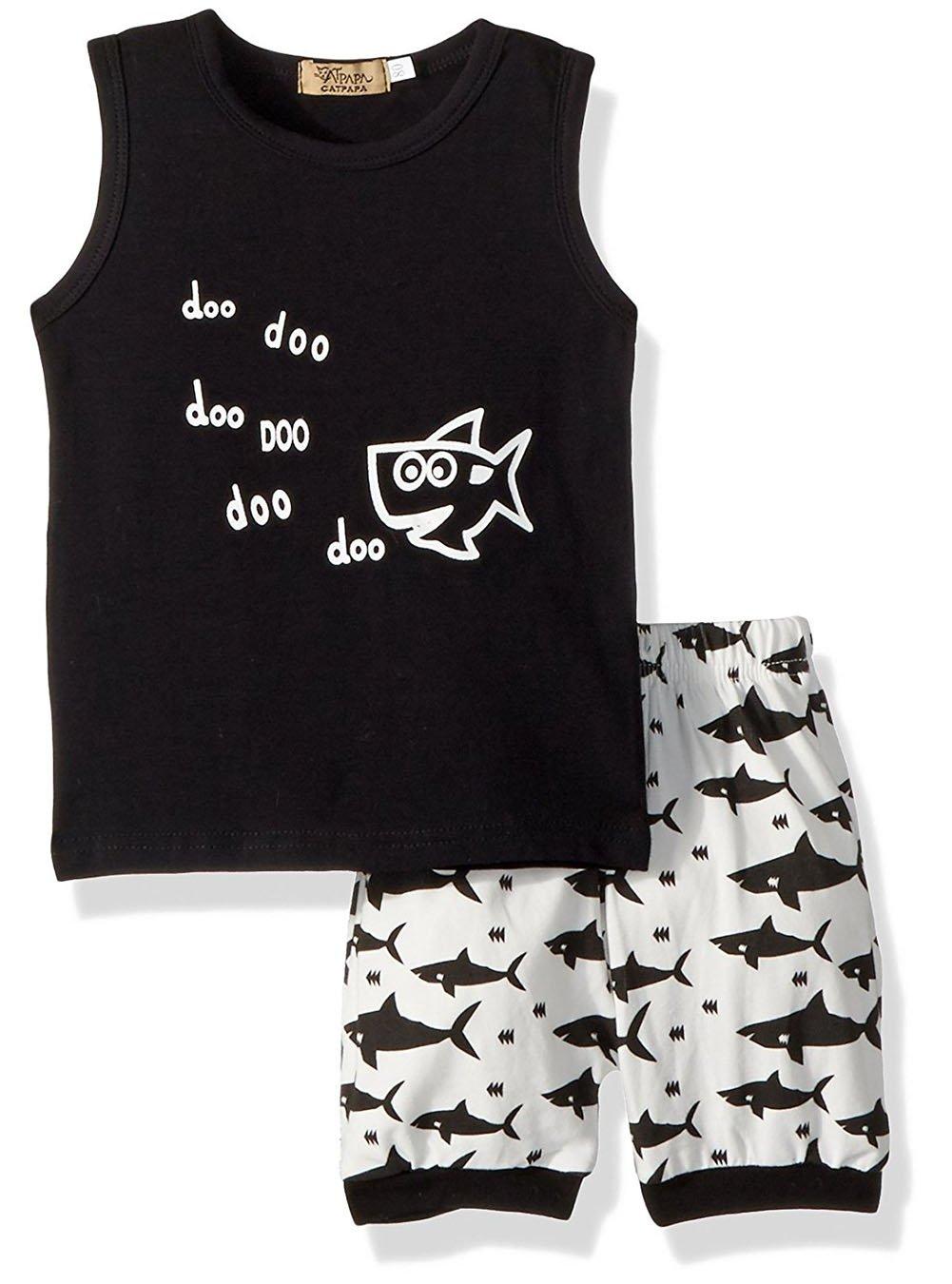 2 PCs Newborn Baby Boy Girl Summer Baby Shart Doo Sleeveless Top Short Pants Clothes Set (12-18 Months, Black)