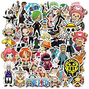 Anime One Piece Stickers,Ratgoo 50 Packs Waterproof Stickers of Cartoon Comic One Piece Luffy Pirate to Kids Teens Boys Cute Cool Anime Stickers for Laptop Water Bottle Computer Mac Phone Case Bike