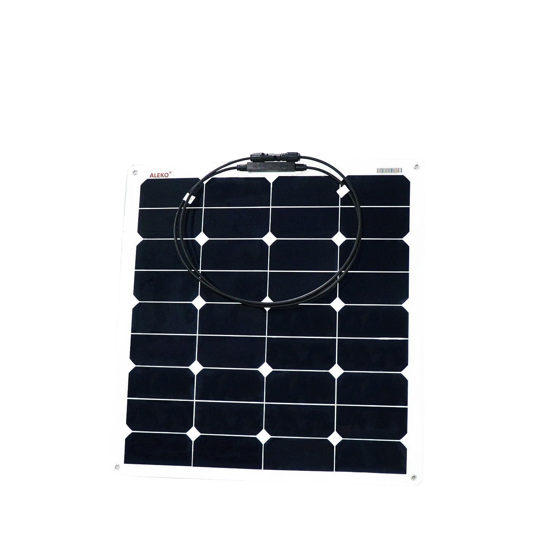 Aleko® 50W 50Semi-Flexibles Solar Monokristallines Panel 12V Solar Modul Power System