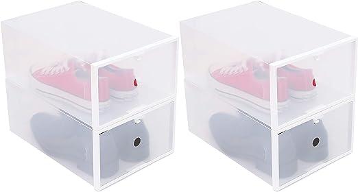 HOMEXCEL - Caja de Almacenamiento para Zapatos de Hombre, contenedor de Zapatos apilable, Organizador de Zapatos para clóset, apilable y Plegable, Paquete de 4, Transparente: Amazon.es: Hogar