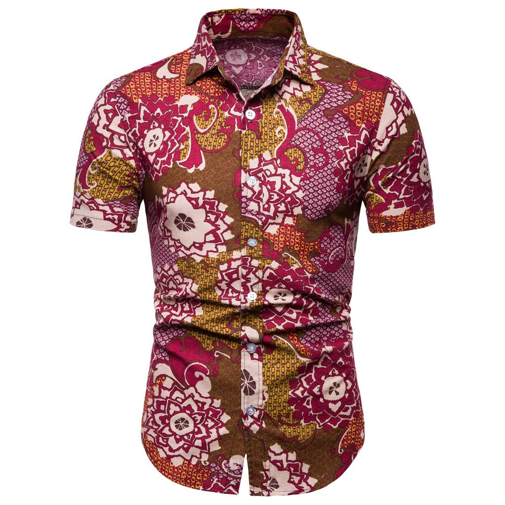 DIKEWANG Mens Blouse New Pattern Casual Turn-Down Collar Short Sleeve Fashion Printing Lapel Printing Short Sleeve Shirt Plus Size Tops Fashion Slim Fit Tees
