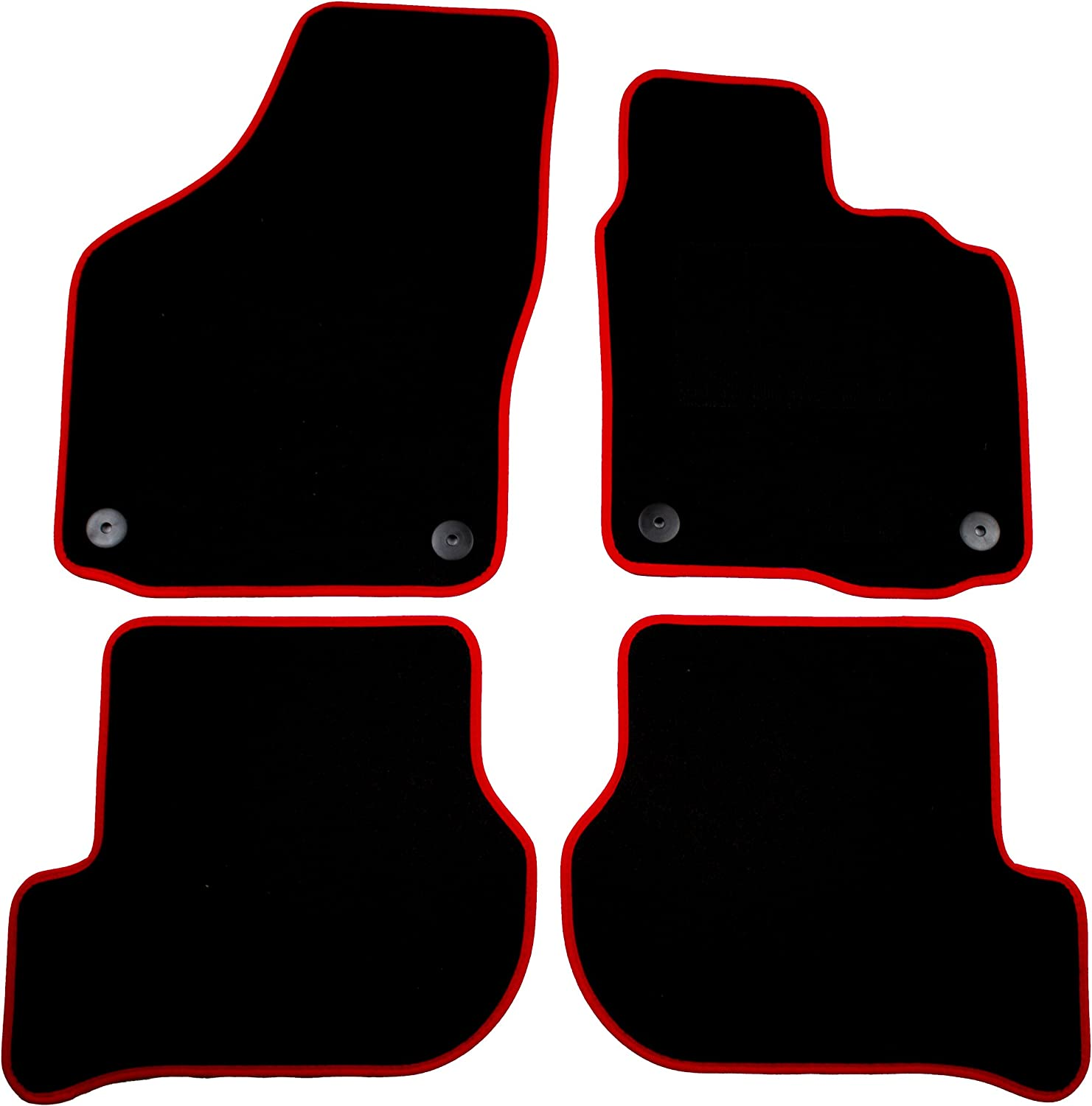 Cosmos V1343STBL13HP Standard Black Tailored Floor Mat with Red Binding with Heelpad