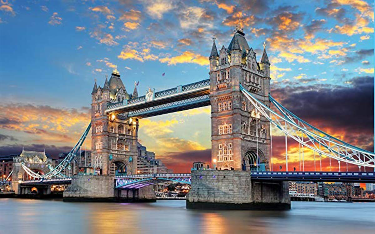 Meryi London Bridge Jigsaw Puzzles for Adults 1000 Piece, Adult Children Tower Bridge Intellective Educational Toy DIY Collectibles Modern Home Decoration