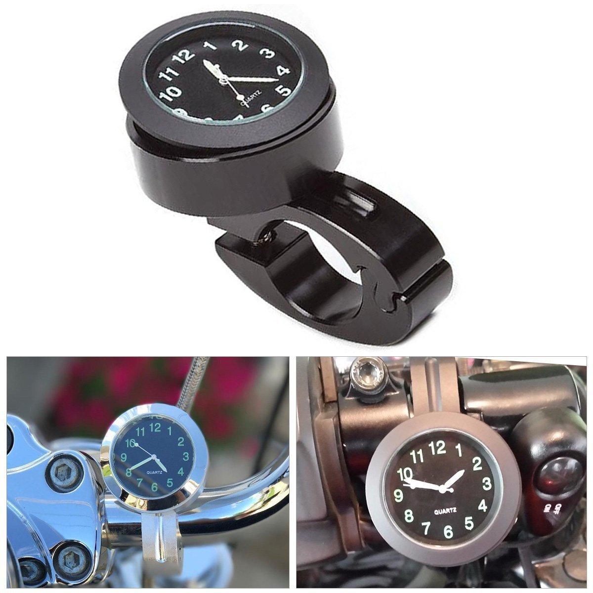 Yooap Moto Guidon Horloge 7/8 Pouces Universel Impermé able Moto Guidon Horloge Yamaha Kawasaki Honda Suzuki Harley Davidson (Noir) (Moto Horloge)