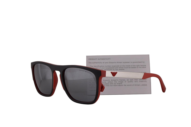 72ba1ca376 Emporio Armani EA4114 Sunglasses Matte Red w Light Grey Mirror Black Lens  55mm 56726G EA 4114  Amazon.co.uk  Clothing