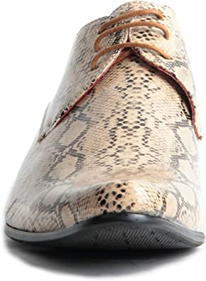Rossellini Brenzone Men/'S Shoes Tan Beige Lace Up Pointed Casual Faux Snake Shoe