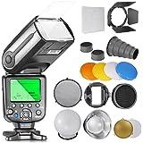 Neewer NW565EX I-TTL Flash Esclave Speedlite Kit pour Nikon DSLR, comprend: (1)Flash TTL + Kit d'Accessoires avec Coupe-flux, Snoot, Nid d'Abeille, Réflecteur, Diffuseur, Gel couleur, Softbox, Adaptateur de Monture
