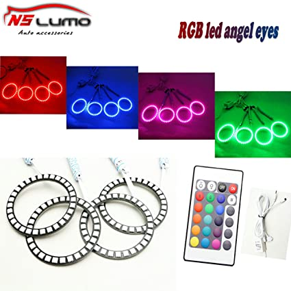 Amazon.com: Newsun RGB 5050 75mm Led Angel Eyes with Controller ...