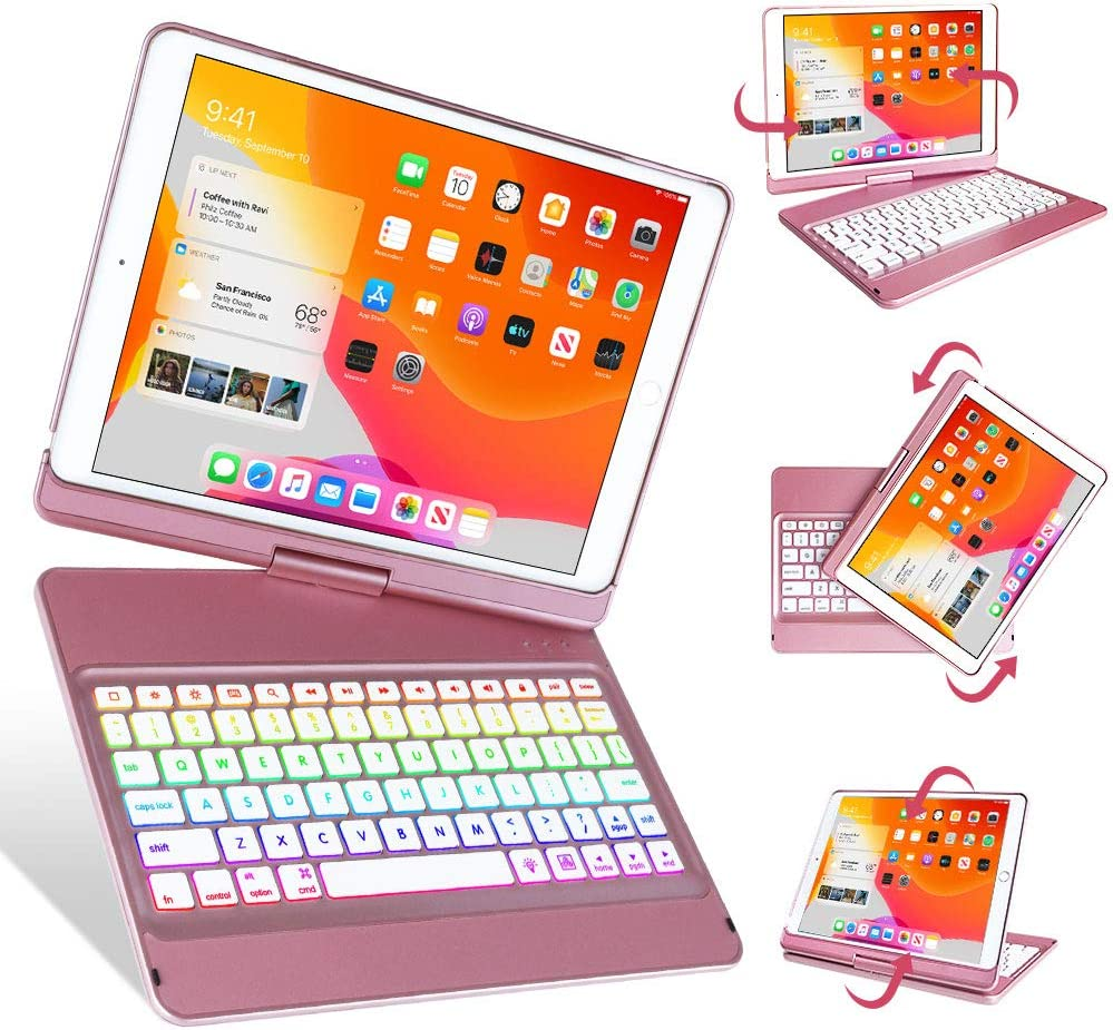 Keyboard Case 10.2 inch for iPad New 8th Generation 2020,iPad 7th Generation 2019,10 Color Backlit 360 Rotatable Wireless Detachable Bluetooth 5.0 Auto Sleep/Wake Cover Tablet Case