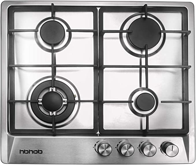 24 Inches Stainless Gas Cooktop Built In Gas Stove 4 Burners Gas Stove Cooktop 4 Sealed Burners Stove Burner Castiron Grate Stove Top Lpg Ng Dual Fuel Thermocouple Protection And Easy To Clean Appliances Amazon Com