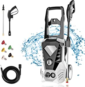 Homdox 3500PSI Pressure Washer 1800W 2.6GPM Electric Pressure Washer,with 5 Quick-Change Nozzles and 32ft Pressure Washer Hose,for Washing Cars,Side,Patio,Porch,Furniture (White)