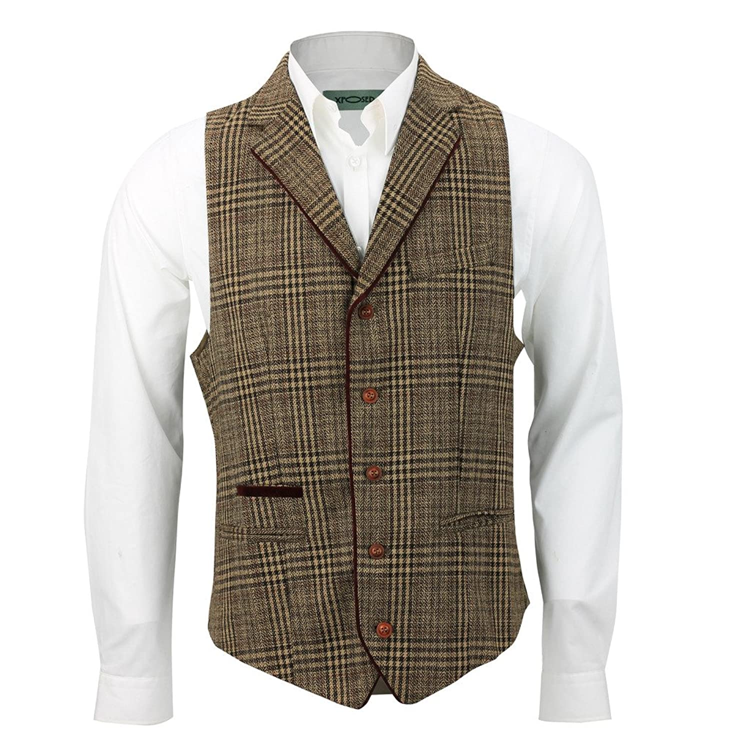 Men's Vintage Inspired Vests Mens Brown Tweed Check Slim Formal Vintage Waistcoat Red Velvet Collar Front Trim Smart Casual Vest £27.99 AT vintagedancer.com