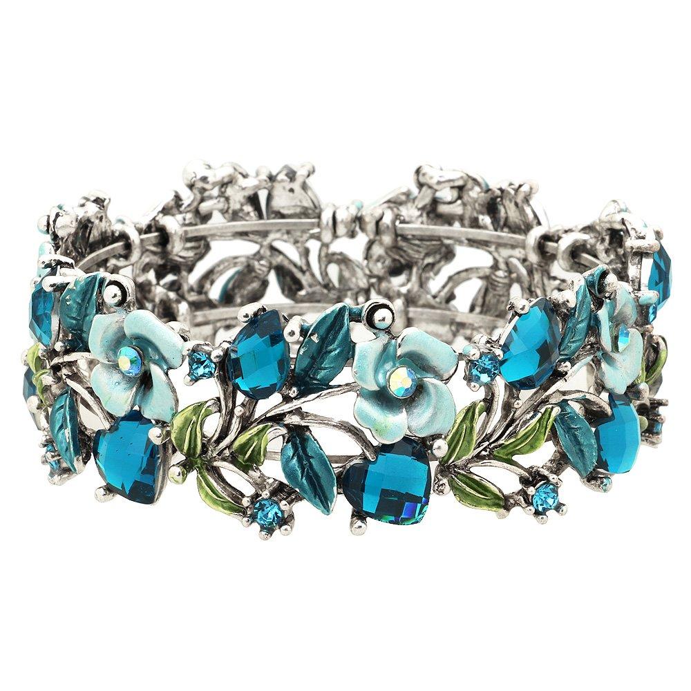 Falari Vintage Flower Bracelet Bangle Crystal Beads Hand-Painted BG401-ASBL
