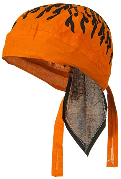 1bae97a3fa2 Image Unavailable. Image not available for. Color  Orange and Black Doo Rag  Skull Cap