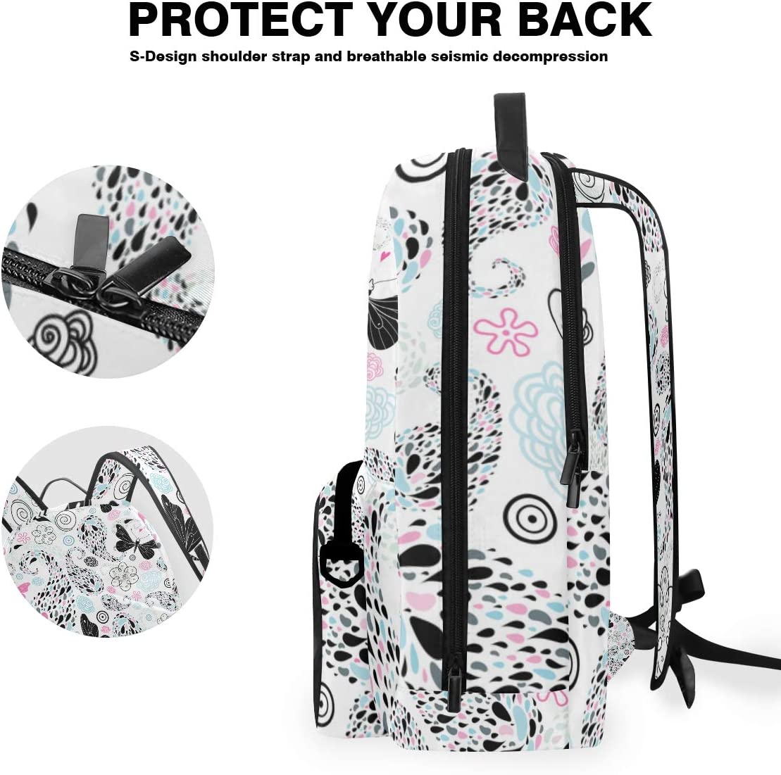 ALLMILL Abstract Patchwork Pattern Seamless Colorful Print Backpack