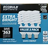 ECOBULB Feit Electric 40 W Extra Bright Soft white 150 W Equivalent Compact Fluorescent Light Bulb CFL 3 Pack