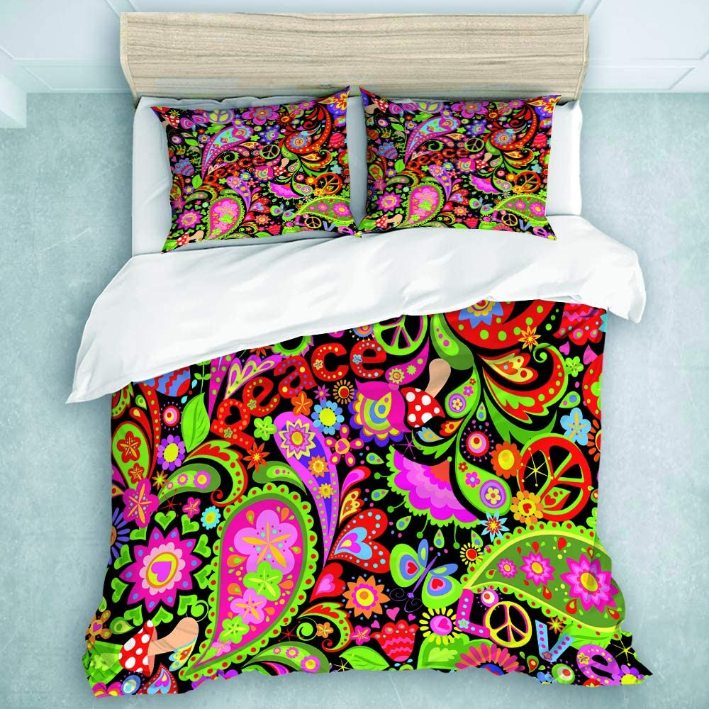 Twin Size Soft Bedding Set for Kids Girls Pattern Hippie Vivid Abstract Colorful Flowers Peace Symbol Mushrooms and Paisley Love MIFSOIAVV 3-Piece Duvet Cover