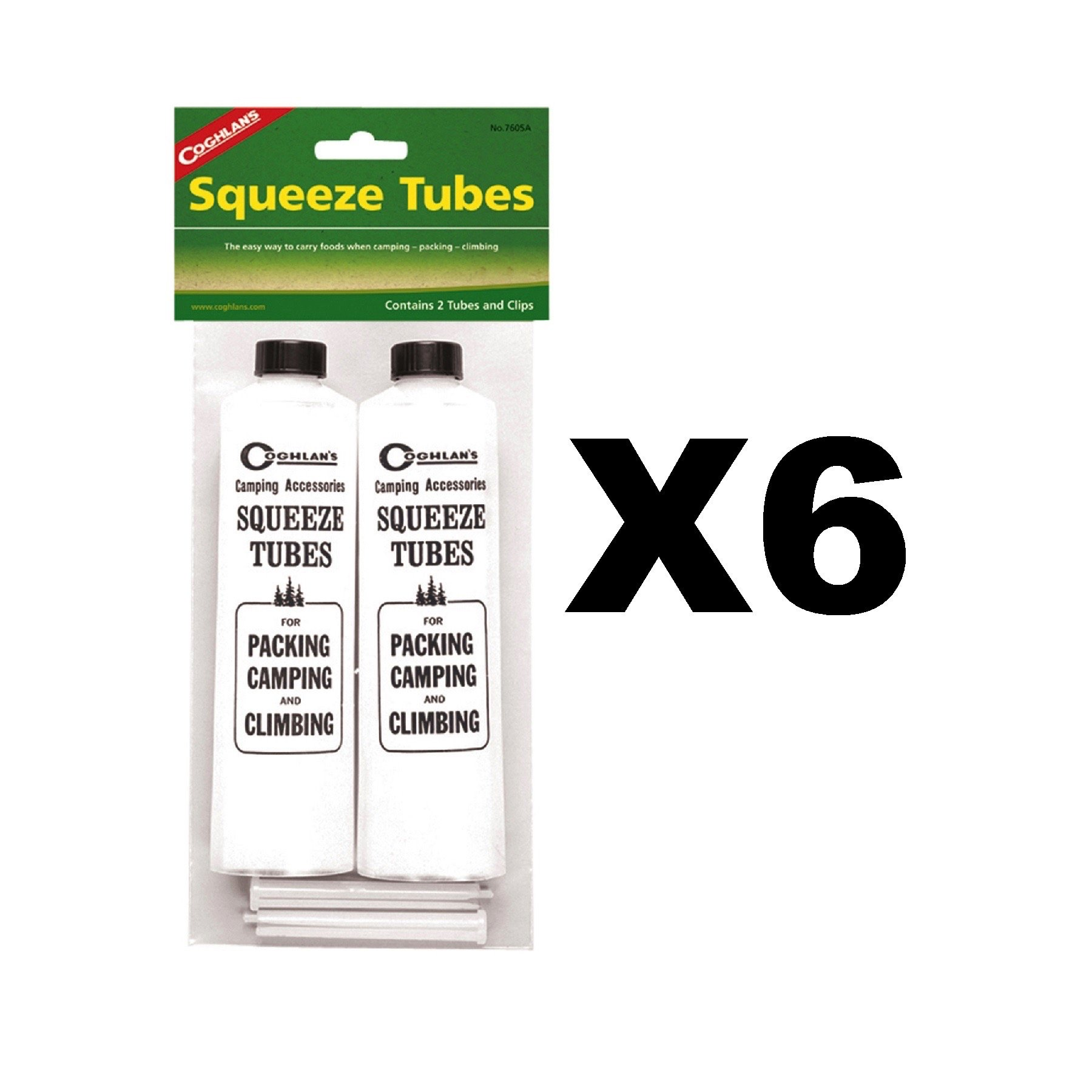 Coghlan's Squeeze Tubes Camping Reusable Plastic Food Storage (6-Pack of 2)