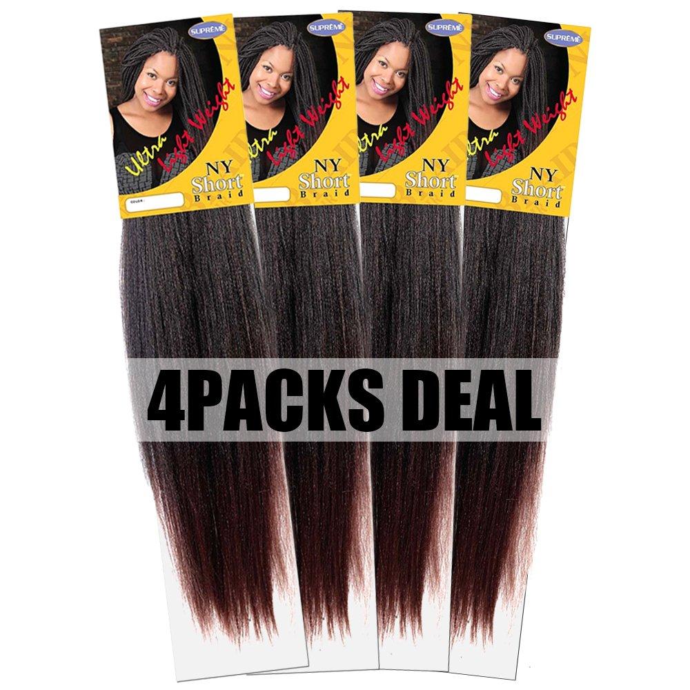 Amazon.com : New York Short Braid-NY Short Braid-4 Packs Deal-#1B ...