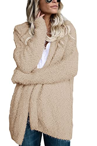 La Mujer Invierno Casual Manga Larga Con Capucha Polar Frente Abierto Suelto MIDI Capa Externa