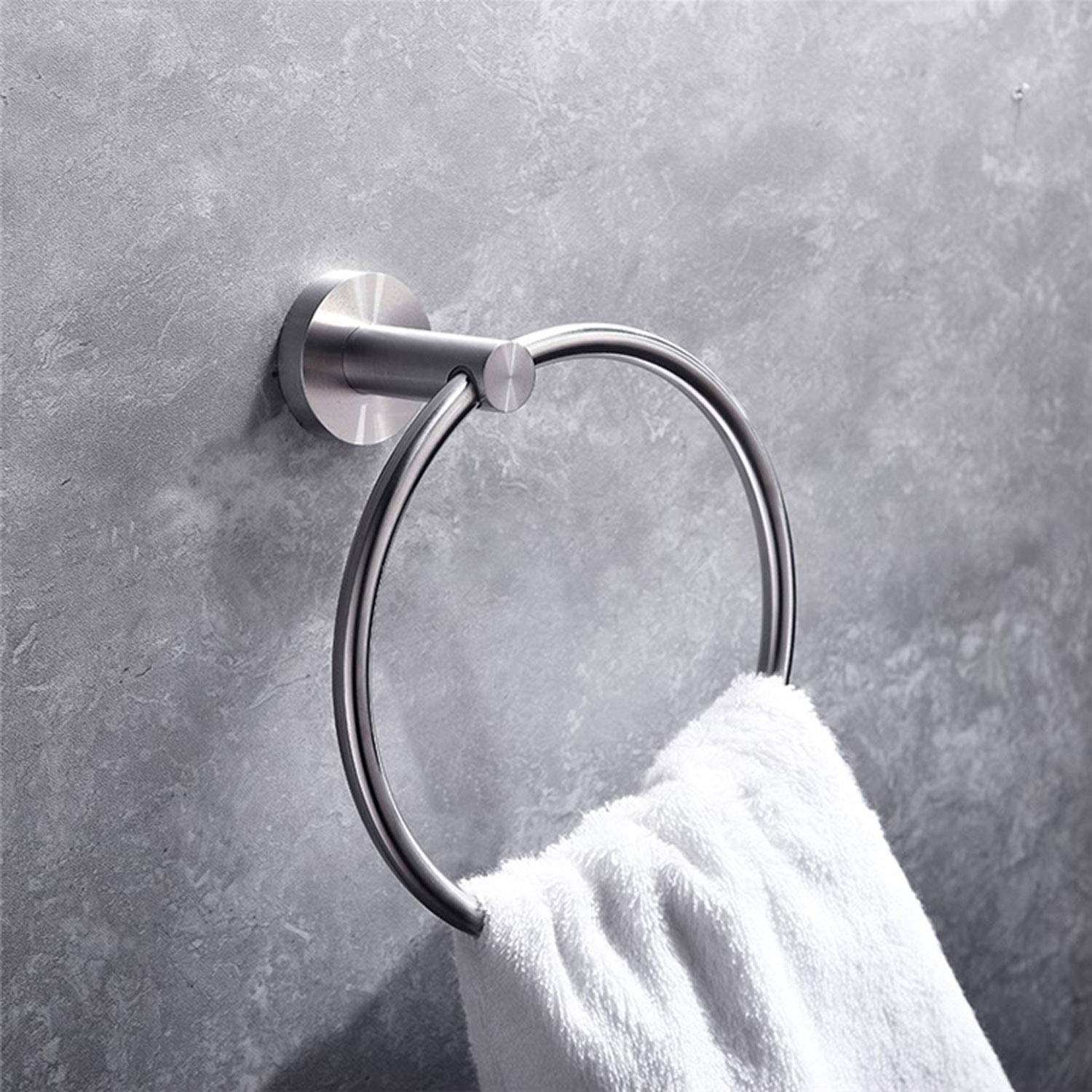 Hand Towel Holder Wall Mounted Kitchen Towel Circle Ring Hanger Hardware 2 Pack JOMAY Towel Ring for Bathroom Silver Rustproof Brushed SUS 304 Stainless Steel