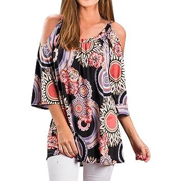 HOSOME Women Top Womens Plus Size 3/4 Sleeve Cold Shoulder Floral Print Loose Blouse