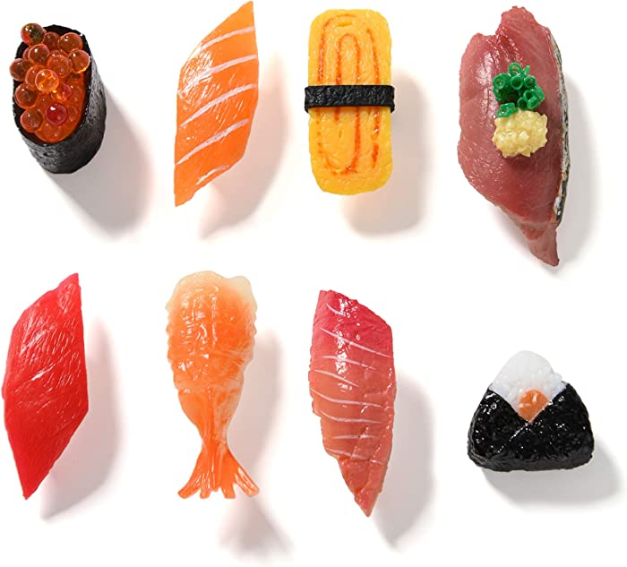 HEY FOLY 8-Japanese Style Sushi Refrigerator Magnet Cute Fridge Magnets for Whiteboard and Household Magnetic Stickers Simulation Food Play