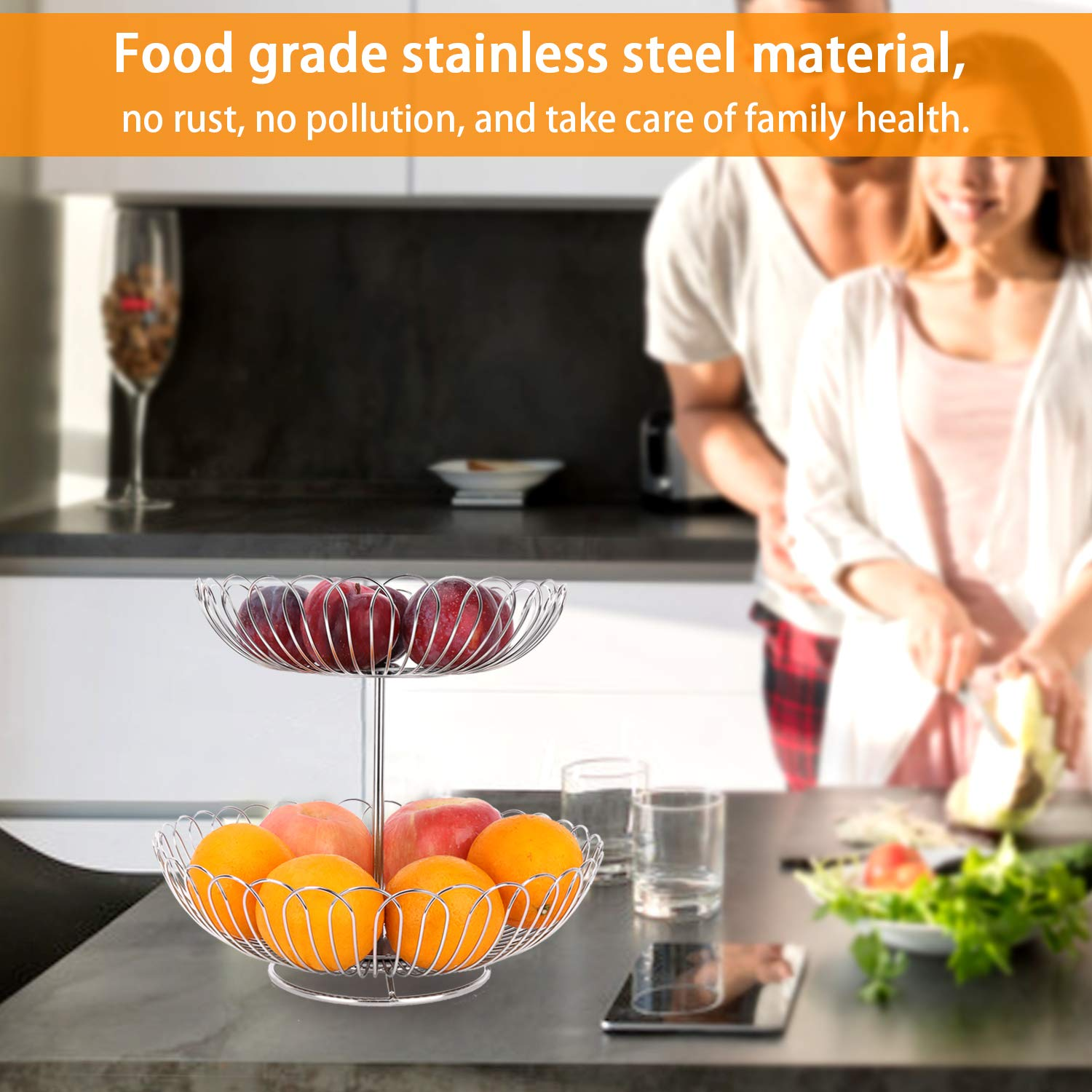Stainless Steel 2 Tier Wire Fruit Basket Bowl for Kitchen Counter Stand with Bread by LANEJOY (Image #6)
