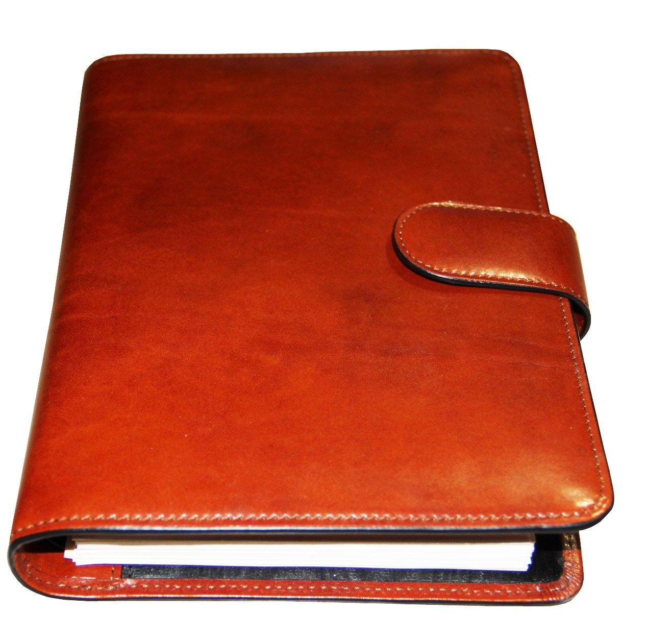 Bosca Old Leather Address Book Weekly Minder Agenda Planner - Amber