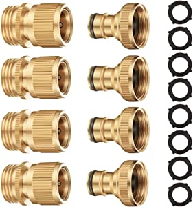 Riemex Garden Hose Quick Connector Set Solid Brass 3/4 inch GHT Water Fitings Thread Easy Connect No-Leak Male Female Value (4, External Thread Quick Connector) EQC-4