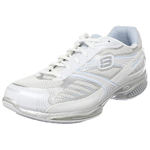 Skechers Women's Shape Ups Toners Ultra Fit Sneaker,White/Silver/Light Blue,