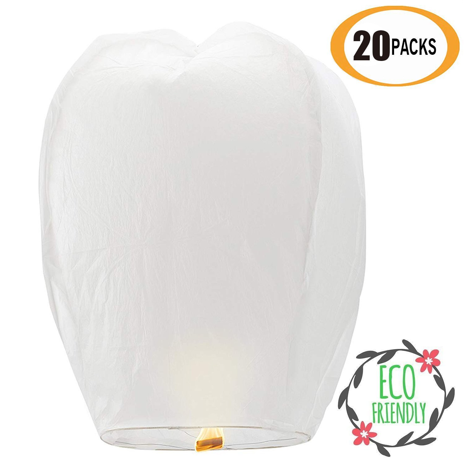 Chinese Paper Flying Sky Lanterns 20 Pack - Extra Large White Eco Friendly 100% Biodegradable - for Wedding, Birthday, Christmas, Party Wish, Memorials, etc by Caryo