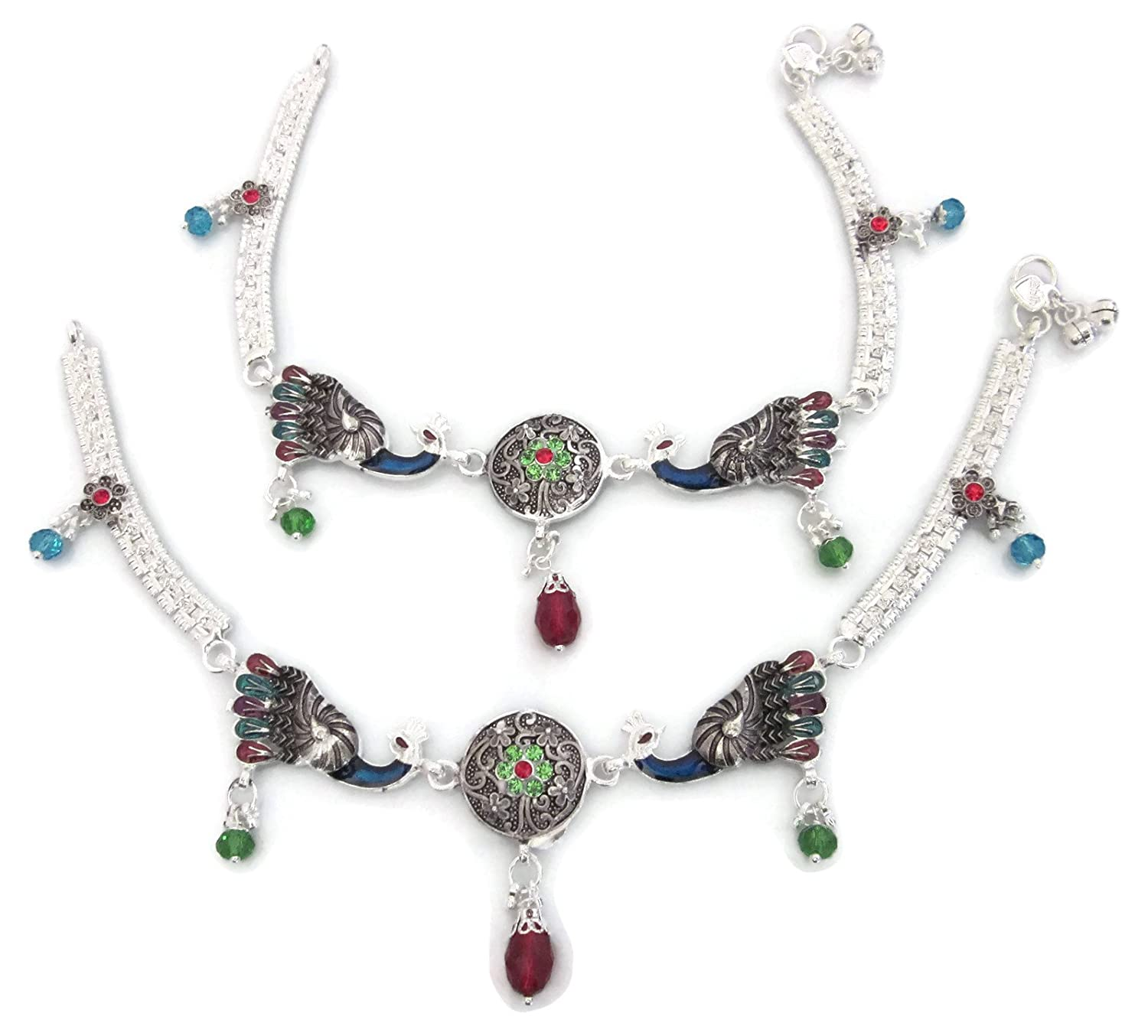 jewellry designer multicolor drop product ghungroo zeusmu chain silver set anklet shop