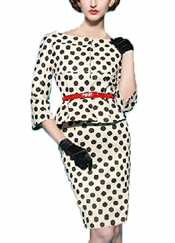 YEEZ Women's 3/4 Sleeves Retro Polka Dot Bodycon Fitted Evening Dress