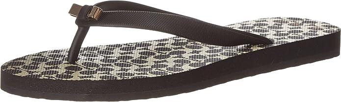 Amazon.com | COACH Women's Amel Black Rubber/Black Milk Sig Sandal 6 M |  Flip-Flops