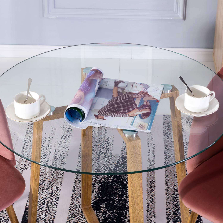 IPOTIUS Tavolo da Pranzo in Vetro Moderno,Tavolo da Cucina Rotondo Diametro 80cm con Gambe in Metallo 80 x 75 cm