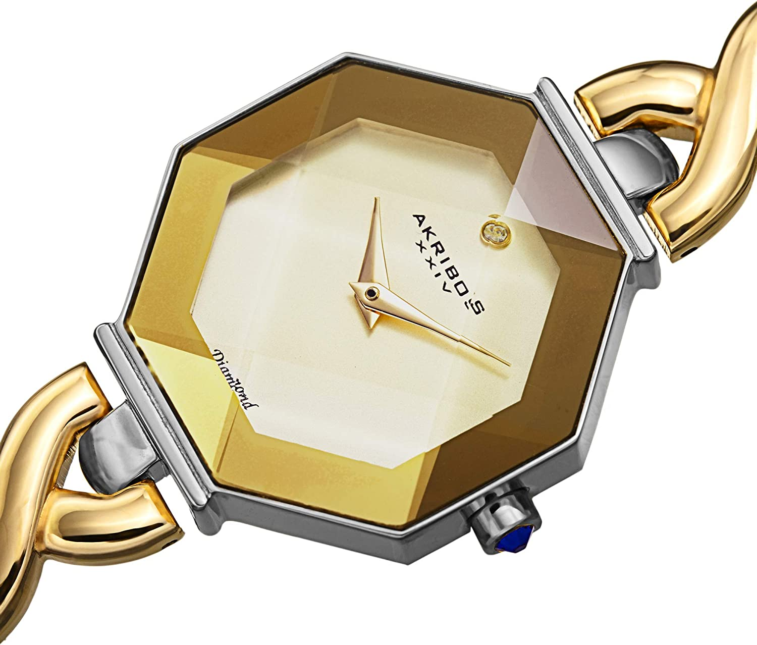 Akribos Octagonal Case Faceted Crystal Lens - Women's Watch - with Diamond Marker Adorned with Twisted Link Bracelet - AK1086 Two-Tone Gold