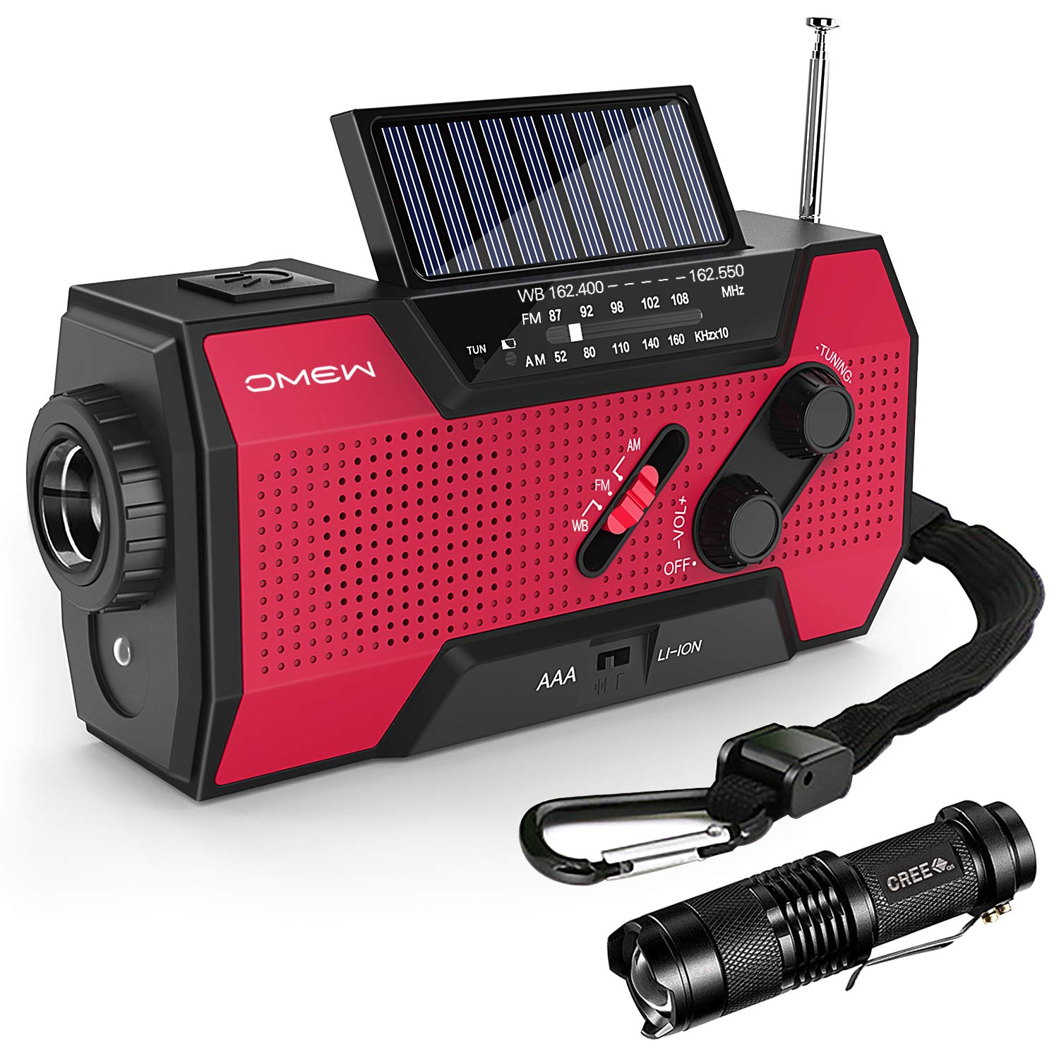 Emergency Weather Radio,Omew Portable Solar Hand Crank NOAA Weather Radio with AM/FM, LED Lamp & 2000mAh Power Bank Phone Charger & SOS Alarm and Waterproof Handheld Flashlight by Omew