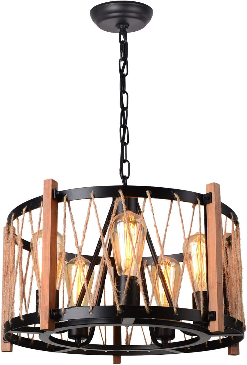 C0047 Brown Giluta Wooden Ring Hemp Rope Chandelier Retro Farmhouse Style Pendant Lighting Vintage Round Ceiling Light Fixtures 3 Lights with Glass Shade