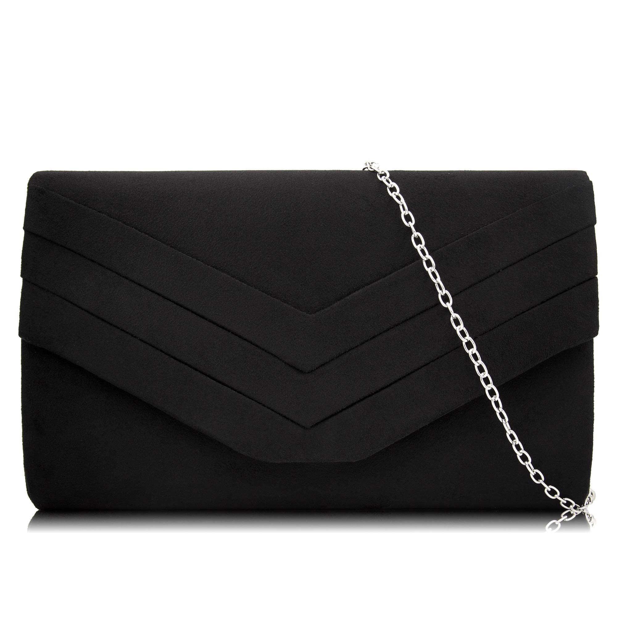 Milisente Women Clutches Suede Envelope Evening Bag Classic Clutch Purse (Black)