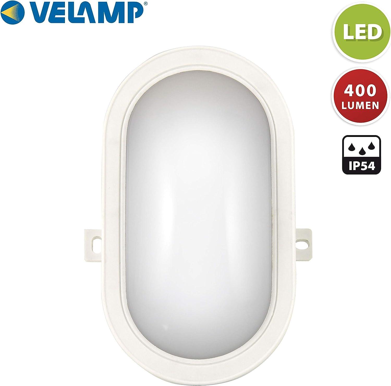 Blanco Luz natural 4000K F/ácil instalaci/ón Para interior o exterior Velamp Tartaruga/_B L/ámpara de pared//techo LED ovalada s/úper brillante: 450 l/úmenes 5W IP65 5.5 W