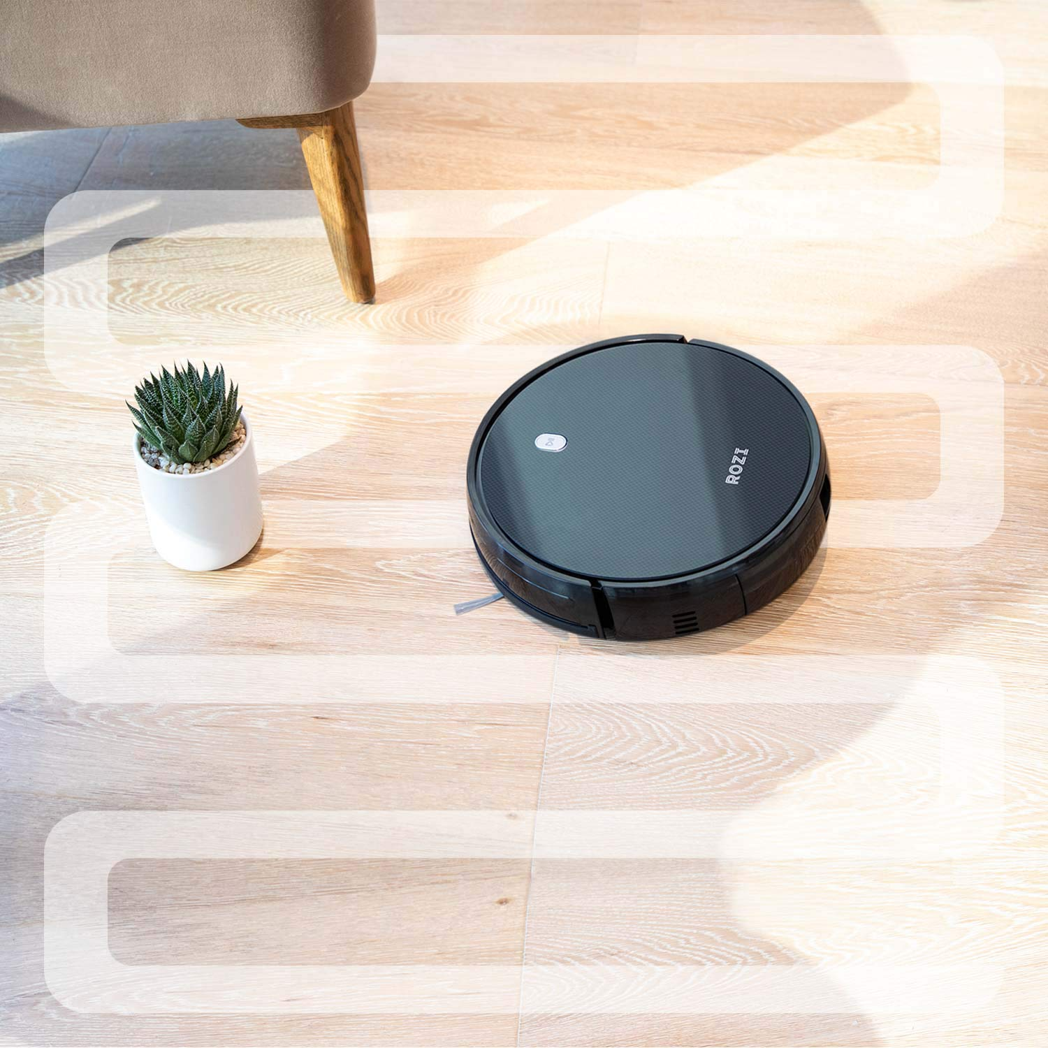 Robot Vacuum, 1600Pa Strong Suction, Smart Navi-System, 120mins Long Lasting, Quick Auto Charge, Multiple Cleaning Modes, Timing Function, Best for Pet Hair, Hard Floor & Low-Pile Carpet(Black)