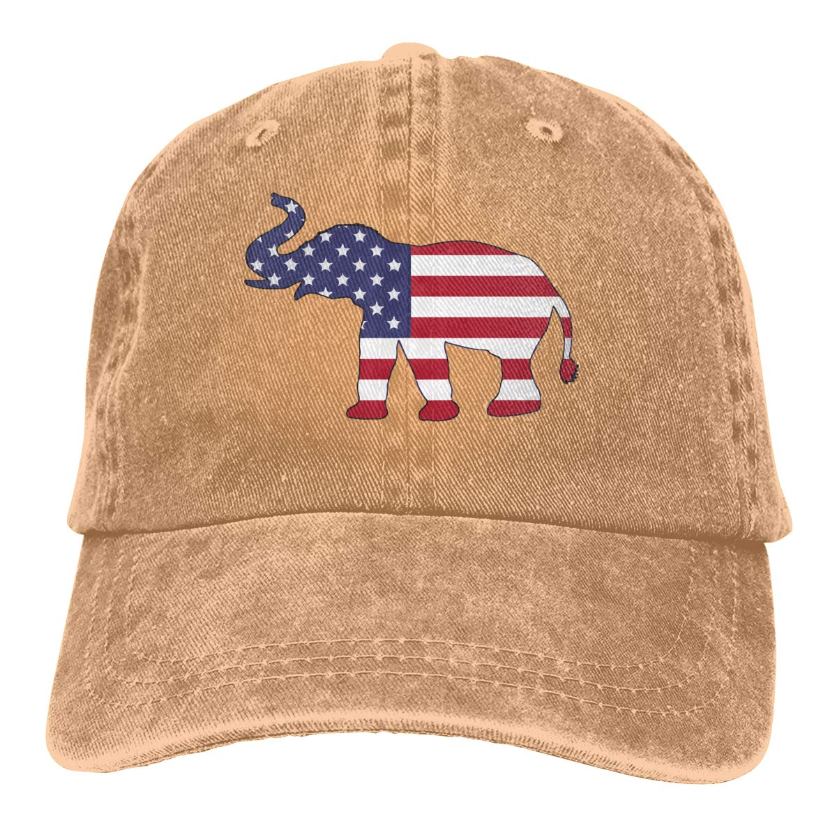 Adult Fashion Cotton Denim Baseball Cap Elephant American Flag Classic Dad Hat Adjustable Plain Cap