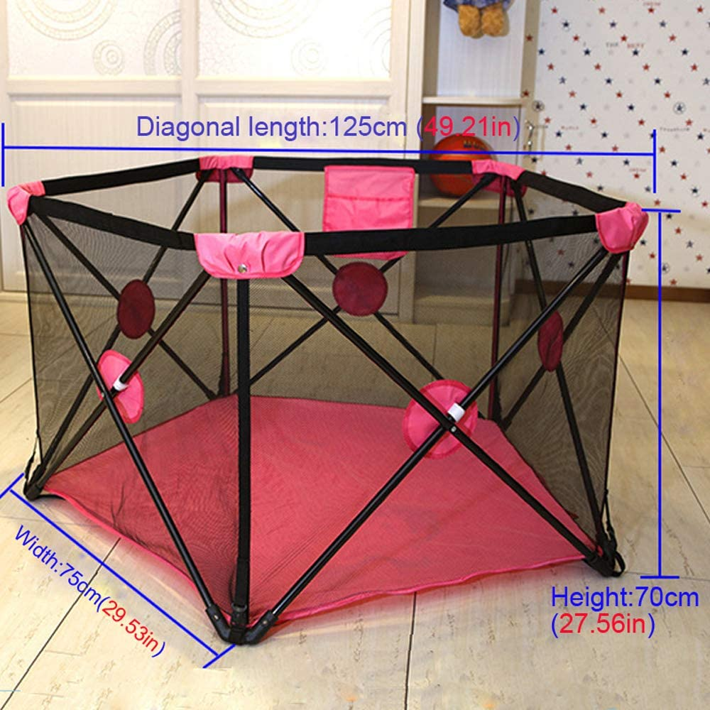 Portable Folding Baby Playard Fence Playpen Ball Pit Tent 49Dia with Carry Case,Breathable Visible Mesh /& Metal Protictive Fram,for Infant Toddler Kids Indoor Outdoor