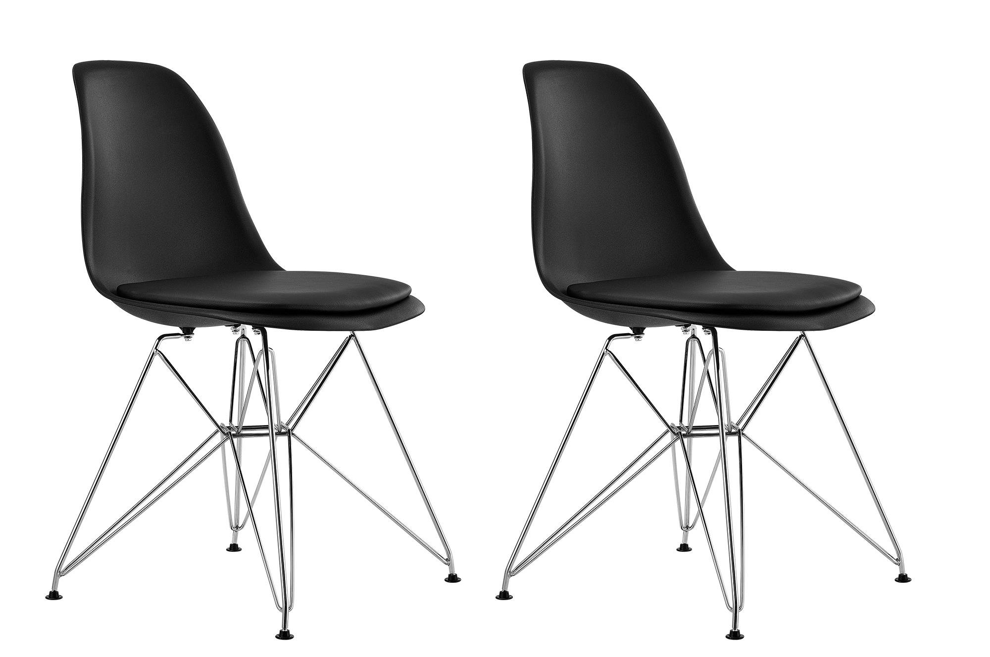 DHP Mid Century Modern Molded Chair with Upholstered Seat, Set of 2, Black