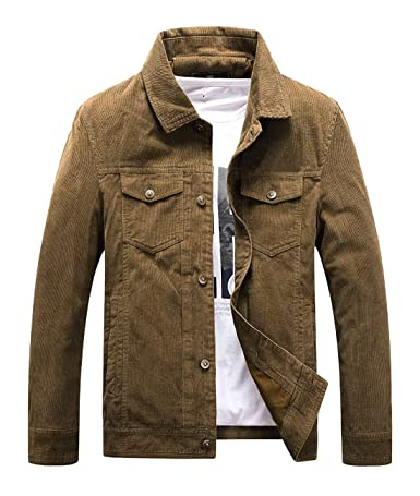 Chartou Mens Vintage Button-Front Slim Fit Corduroy Denim Jacket